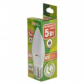 Лампа светодиодная Pled-Eco JAZZWAY Е27 5w C37 3000К теплый белый свет,свеча