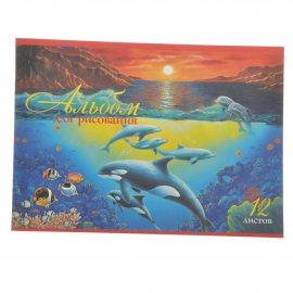 Альбом для рисования Hatber 12л А4 скрепка Дельфины