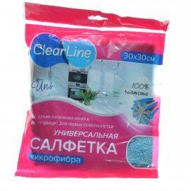 Салфетка для уборки CLEAR LINE 1шт 30х30см микрофибра универсал.