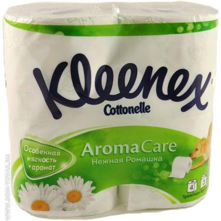 Бумага туалетная KLEENEX 4 рулона трехслойная Нежная Ромашка