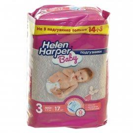 Подгузники HELEN HARPER Baby 4-9кг 17шт midi 3