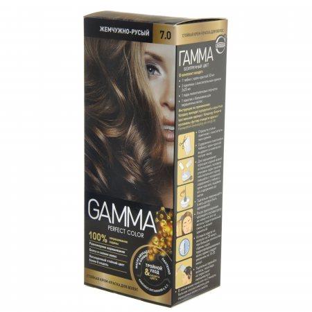 Крем-краска для волос GAMMA Perfect Color стойкая 7.0 Жемчужно-русый Окисл.крем 6%