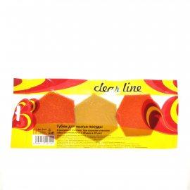 Губка для посуды CLEAR LINE 3шт В вакуумной упак.