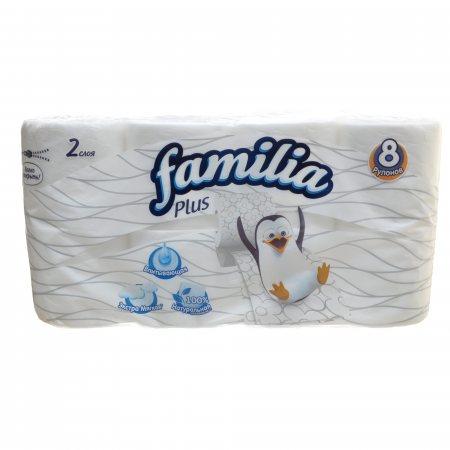Бумага туалетная Familia Plus 8 рулонов двухслойная Белая