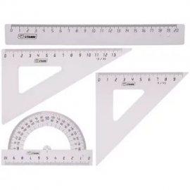 Набор геометрический СТАММ 4пр:Линейка, 2 треугольника, транспортир средний прозрачный б/цв,пластик