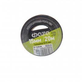 Изолента ФАZА 15ммх20м черная