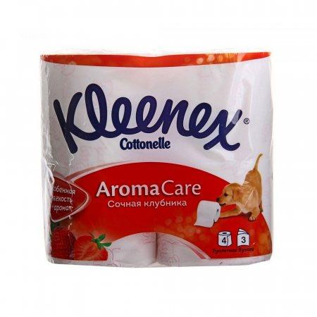Бумага туалетная KLEENEX 4 рулона трехслойная Сочная Клубника