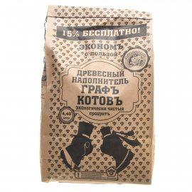 Наполнитель для кошачьих туалетов МЯУДОДЫР древесный Графъ+котовъ крафт-пакет коричневый бесплатно 15% 4.45л