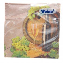Салфетки бумажные LINIA VEIRO 20шт 33х33 Трехслойные Винтаж-Вино
