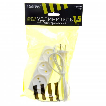 Удлинитель сетевой ФАZА без заземления 1.5м 3 розетки