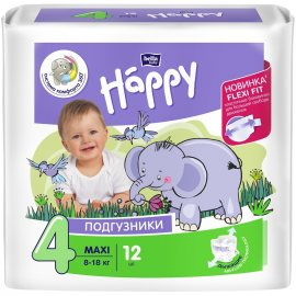 Подгузники BELLA HAPPY BABY 8-18кг 12шт MAXI