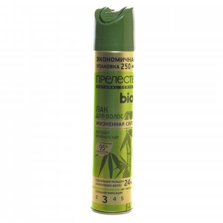 Лак для волос ПРЕЛЕСТЬ Био Сильной фиксации Жизненная сила С экстрактом зеленого чая 250см3