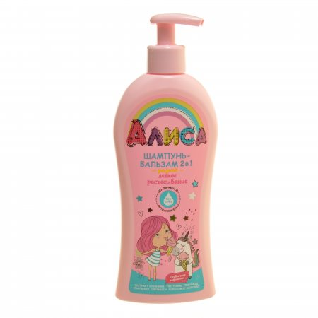 Шампунь-бальзам для волос АЛИСА 2в1 Легкое расчесывание,Клубничное мороженое 350мл