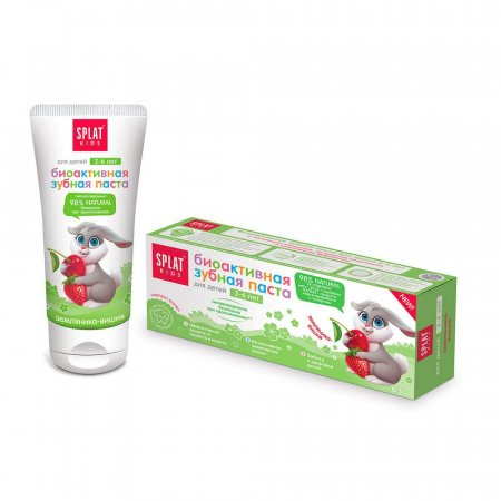 Зубная паста SPLAT Kids Биоактивная Земляника-Вишня от 2 до 6лет