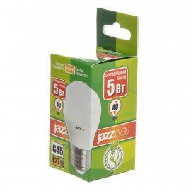 Лампа светодиодная Pled-Eco JAZZWAY Е27 5w G45 3000К теплый белый свет,шар