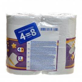 Бумага туалетная LINIA VEIRO 4 рулона двухслойная Standart Plus