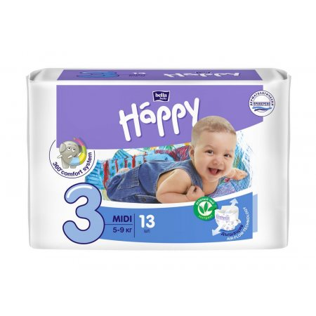 Подгузники BELLA HAPPY 5-9кг 13шт Midi 3