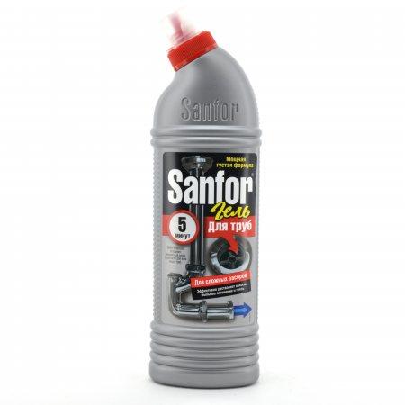 Средство для удаления засоров в трубах SANFOR Гель 5 мин. 750г