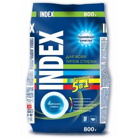 Стиральный порошок INDEX для всех типов стирки для белых и цветных вещей 800г