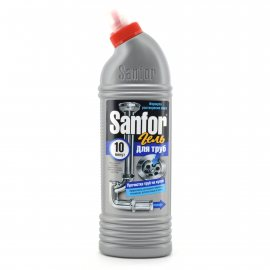 Средство для удаления засоров в трубах SANFOR Гель прочистка труб на кухне 750г