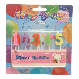 Свеча Happy Birthday для торта 10шт цифры
