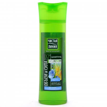 Шампунь для волос ЧИСТАЯ ЛИНИЯ Объем и сила для тонких и ослабленных Пшеница и лён 400мл