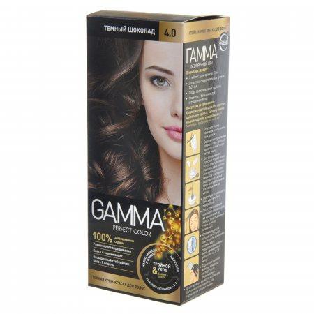 Крем-краска для волос GAMMA Perfect Color стойкая 4.0 Темный шоколад Окисл.крем 6%